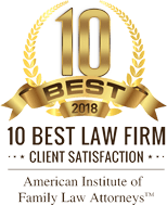 American Institute of Family Law Attorneys 10 Best Law Firm 2018 badge